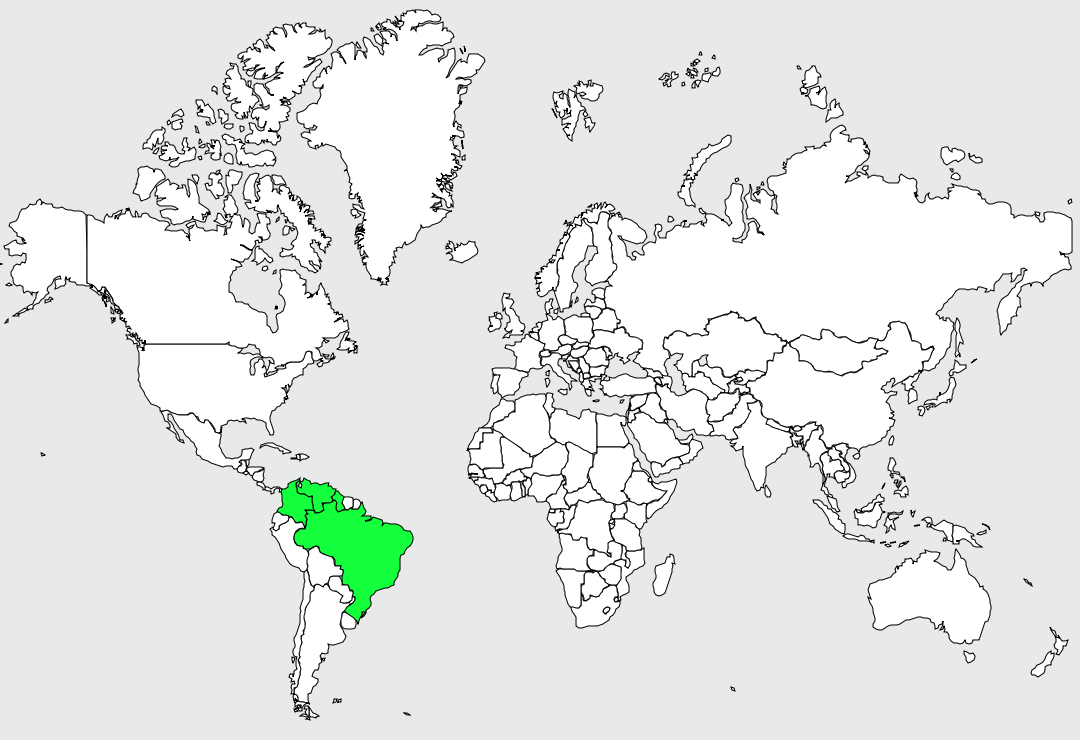 Carte de distribution de Araponga barbu