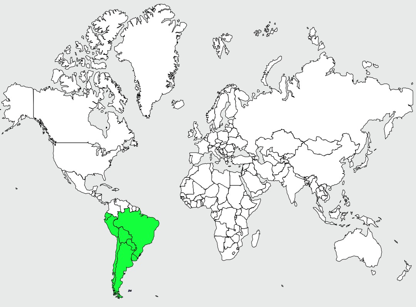 Carte de distribution de Flamant du Chili