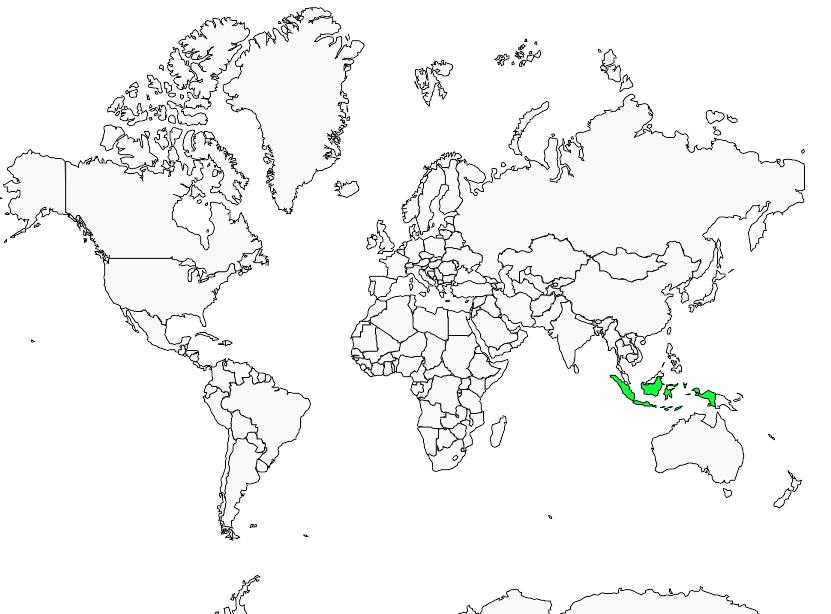 Carte de distribution de Grive de Doherty