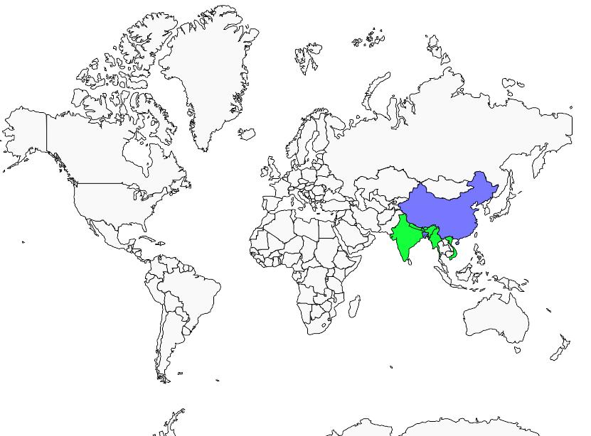 Carte de distribution de Grive montagnarde