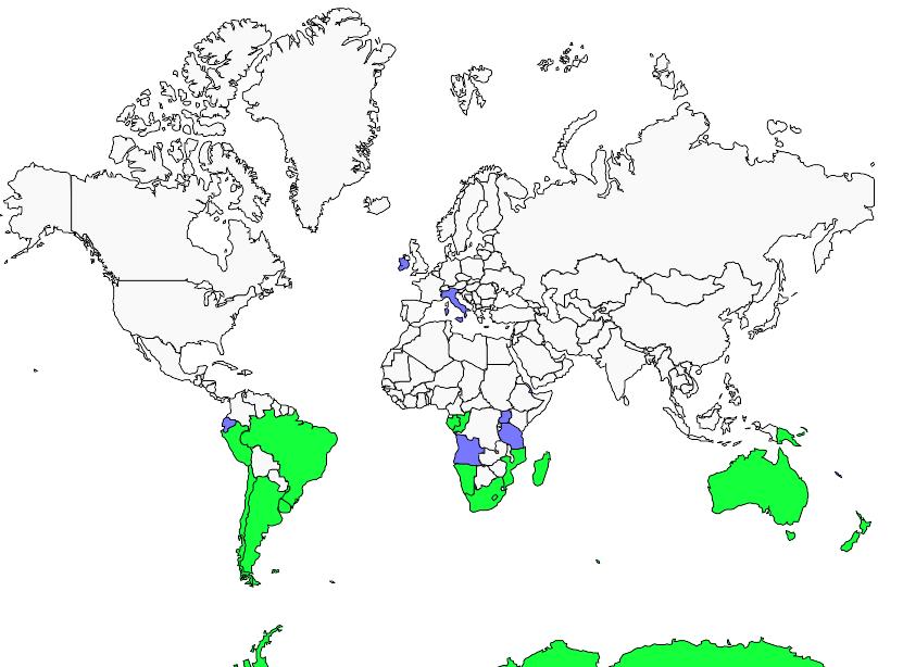 Carte de distribution de Pétrel géant