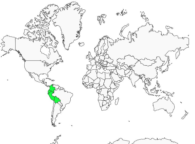 Carte de distribution de Tamatia à gorge fauve
