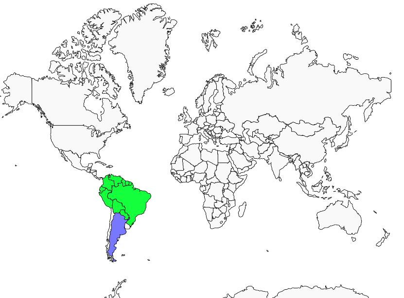 Carte de distribution de Tangara à bec d'argent