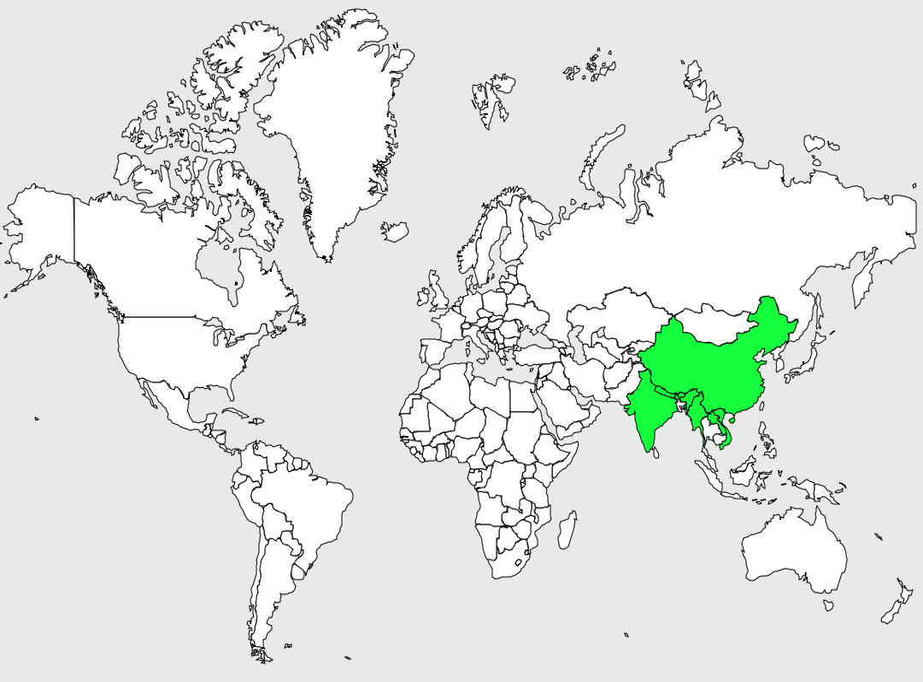 Carte de distribution de Torquéole à collier