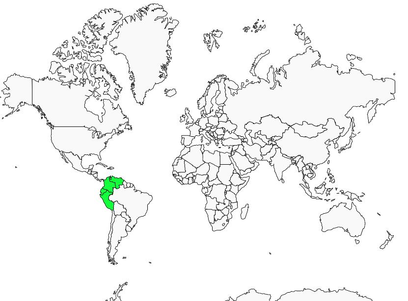 Carte de distribution de Tyranneau à face d'or