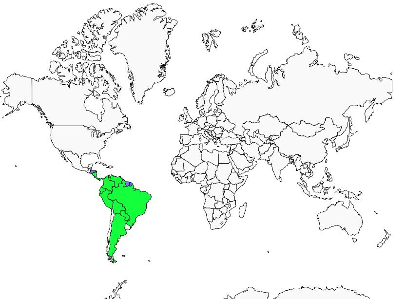 Carte de distribution de Tyranneau flavéole