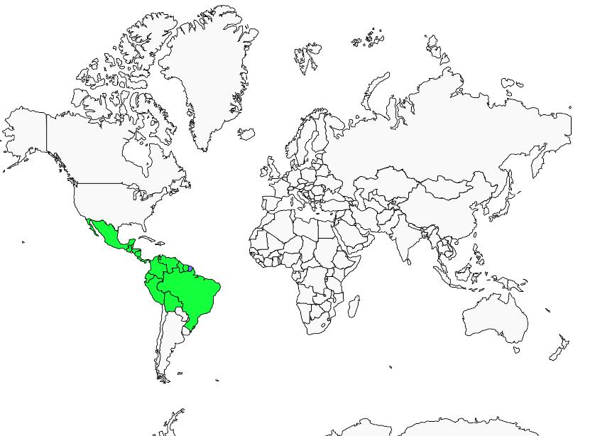 Carte de distribution de Viréon à calotte rousse